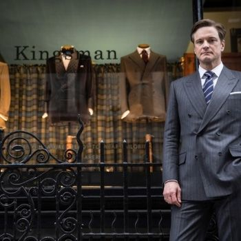 2014 - Hollywood movie, Kingsman: The Secret Service is realeased. Colin Firth in front of Huntsman Savile Row