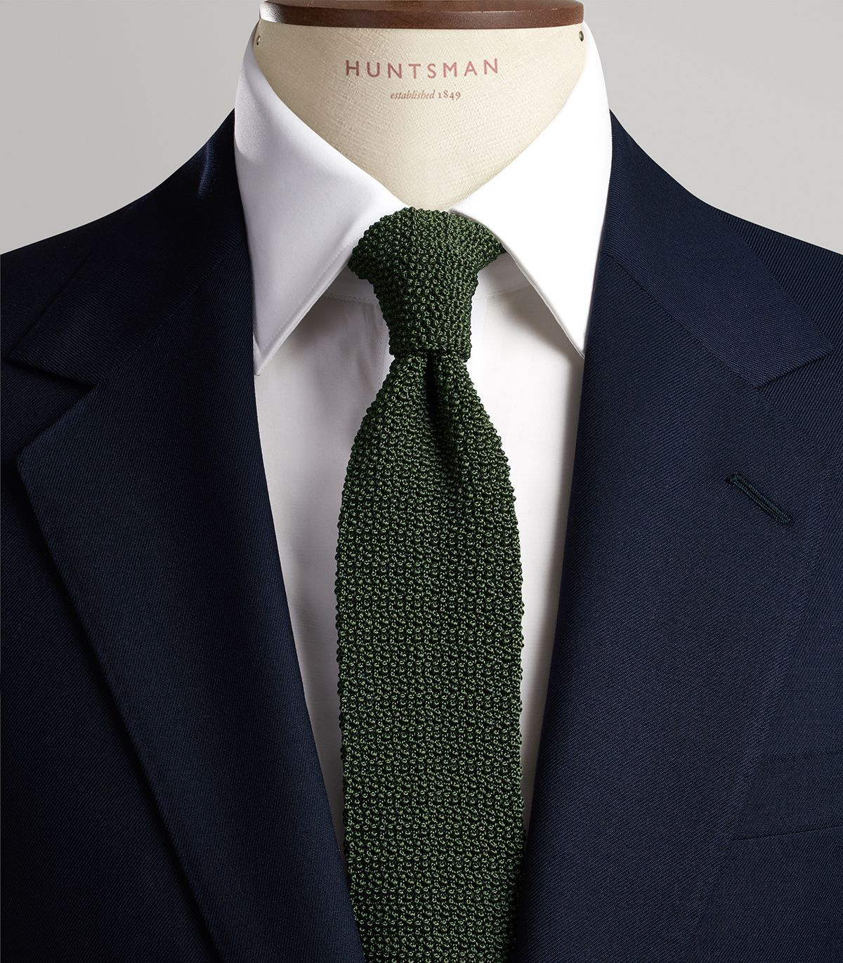olive green knitted tie huntsman