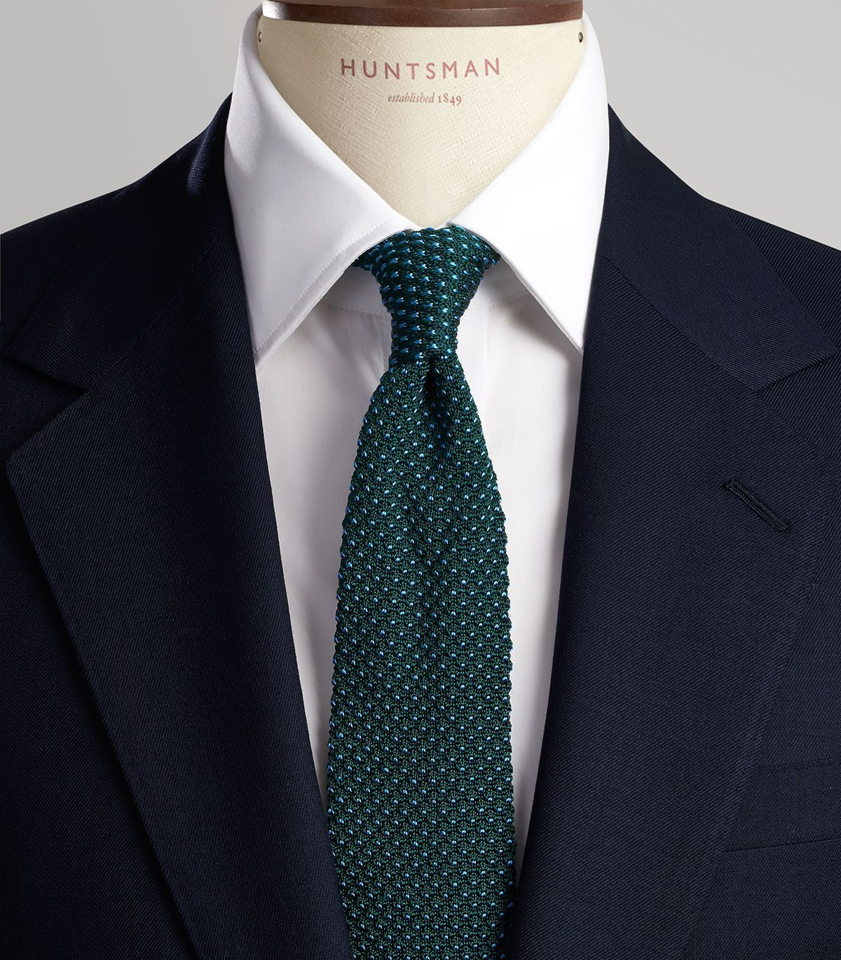 5b7dcdd08614 Green and Blue Spot Knitted Tie with Shirts and Jacket ...