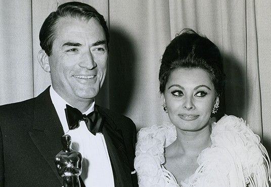 Gregory Peck Image with Oscar - black and white thumbnail